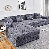 WXQY Funda de sofá de Esquina con patrón de Lino, Utilizada para la Funda del sofá de la Sala de Estar, sofá elástico con Todo Incluido, sillón Chaise Sofa A8 de 4 plazas