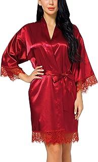 7fbf10d2f7aa8 FEOYA Robe de Chambre Satin Femme Kimono Peignoir de Bain Soie en Satin  Femme Sortie de