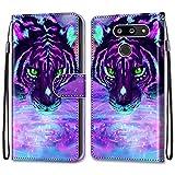 i-Case Carcasa LG G8 ThinQ 6.1' Flip Cover, Patrón PU Piel Funda,Cubierta de Ranuras para Tarjetas,Caja de Soporte con Cierre Magnético Caso teléfono para LG G8 ThinQ 6.1' Tigre Purpurina púrpura