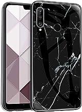 Surakey Kompatibel med Huawei P30 Lite fodral, ultratunt smalt härdat glas bakskydd med TPU-ram reptåligt mjukt stötskydd ...