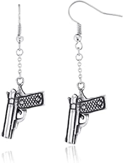 Gun Pistol Dangle Hook Earrings Pewter Jewelry
