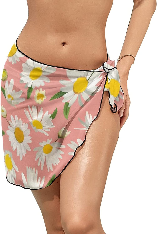 Women Beach Wrap Skirt Chiffon Sarong Pareo Swimsuit Bikini Cover Ups Spring Daisy Flowers