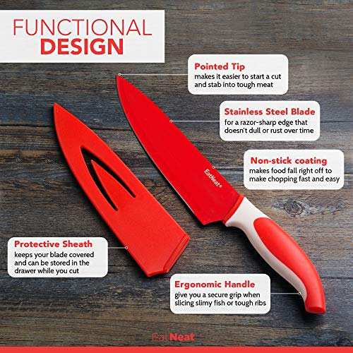 EatNeat 12-Piece Colorful Kitchen Knife Set - 5 Colored Stainless Steel Knives with Sheaths, Cutting Board, and a Sharpener - Razor Sharp Cutting Tools that are Kitchen Essentials for New Home