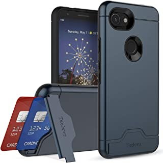 Teelevo Wallet Case for Google Pixel 3a, Dual-Layer Case with Hidden Card Storage and Integrated Kickstand for Google Pixel 3a (2019), Navy Blue
