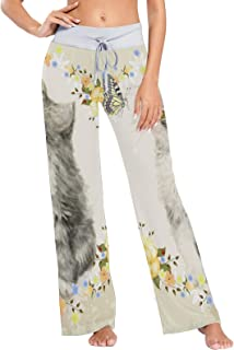 XiangHeFu Pantaloni Pigiama da Donna, Pantaloni da Yoga, Leggings Inferiori, Pantaloni da Salotto a Vita Alta, Divertiment...