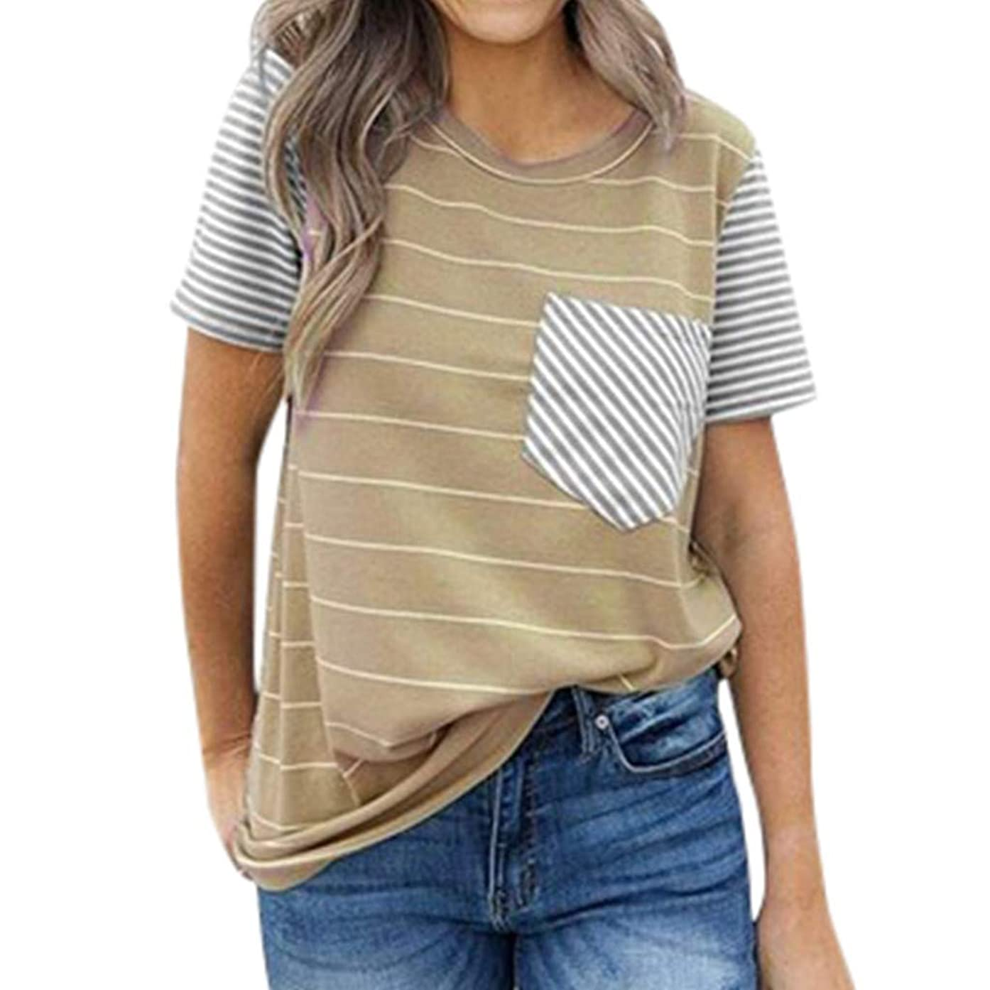 Amlaiworld Women's Tops Short-Sleeve Crewneck T-Shirt Summer Striped Casual Blouse Tee Shirt with Pocket Sport Shirt