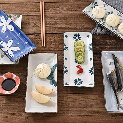 Platos Placa de sushi placa de cena de cerámica flor fruta vajilla rectangular cena platos plato de cena plato plato de fruta Vajilla (Color : E)