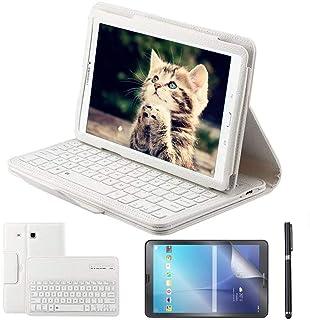 REAL-EAGLE Galaxy Tab E 9.6 Teclado Funda(QWERTY), Funda de Cuero con Desmontable Inalámbrico Bluetooth Teclado para Samsung Galaxy Tab E 9.6 SM-T560 / T561 / T565 Tablet, White