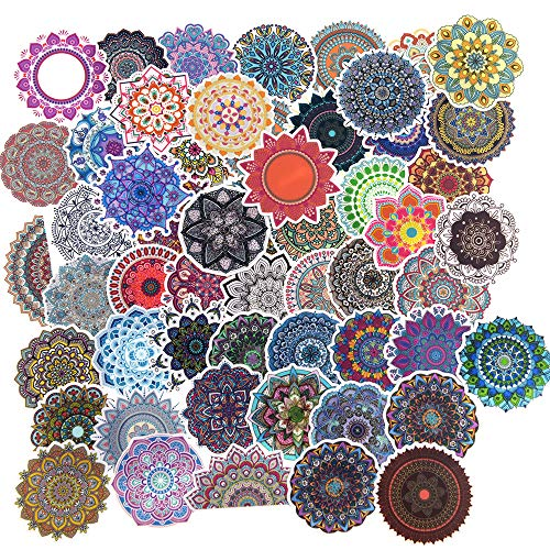 Colorful Small Mandala Flowers Stickers for Water Bottle,Laptop,Journal/Yoga Girl Stickers/Rainbow Kaleidoscope Round Stickers-56pcs