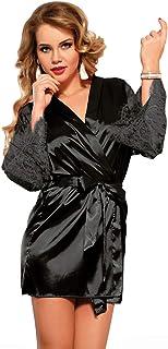 ohyeahlady Vestaglia Sexy Donna di Seta Corta a scolla V Pigiama Baby Doll Gonna Corta+Cintura+ G string Kimono in Pizzo T...