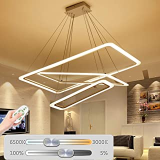 Novely Chandelier Modern Dimmable Remote Control Led Pendant Light Fixtures Rectangle 3 Ring Flush Mount Ceiling Lamp for Dining Living Room Bedroom Adjustable Suspension Acrylic Hanging Home Lighting