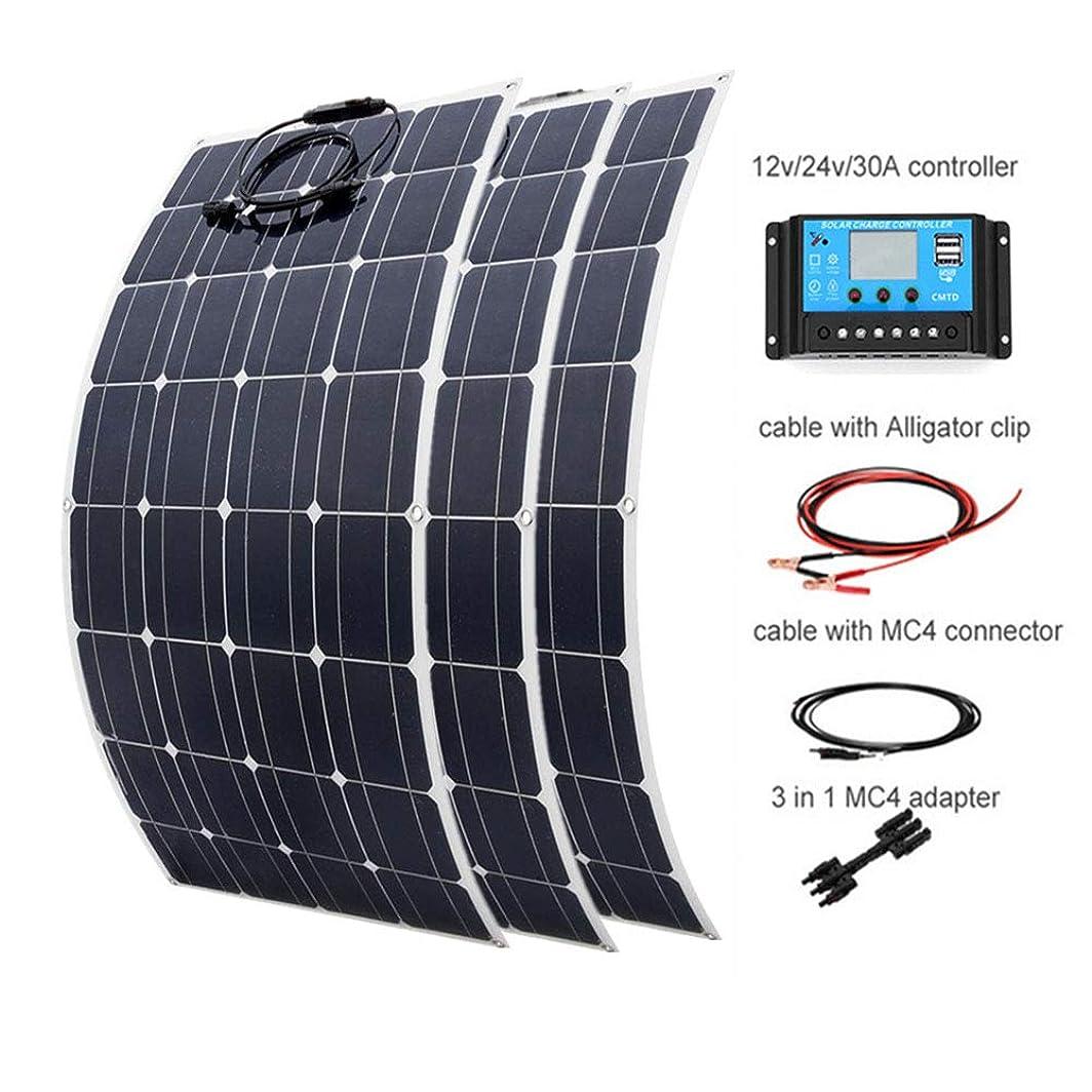 秋ガム上回る300ワット12Vのソーラーパネルキット:3pcsの100Wモノラルソーラーパネル、12V、24VバッテリーカーボートRVヨットパワーチャージ+ 100AH AGMバッテリー+ 30A充電コントローラ