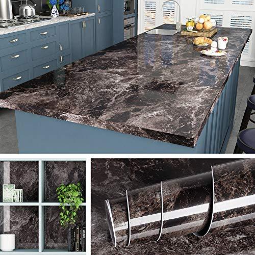 Livelynine 5M X 60 CM Breit Marmor Folie Selbstklebend Möbelfolie Klebefolie Tisch Mamorfolie für Holz Küche Arbeitsplatte Küchen Arbeitsplatten Küchenarbeitsplatte Folie Wasserfest Tischfolie Muster