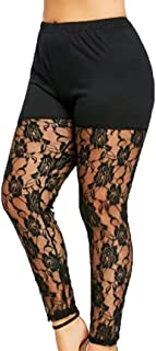 62cfed05e13fe WM & MW Sexy Women Plus Size Pants Sexy Sheer Lace Floral Splice Casual  Yoga Dance