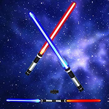 JOYIN Light Up Saber 2-in-1 LED  6 Colors  FX Dual Swords Set with Sound  Motion Sensitive  for Galaxy War Fighters and Warriors Halloween Party Christmas Gift Stocking Idea Xmas Presents