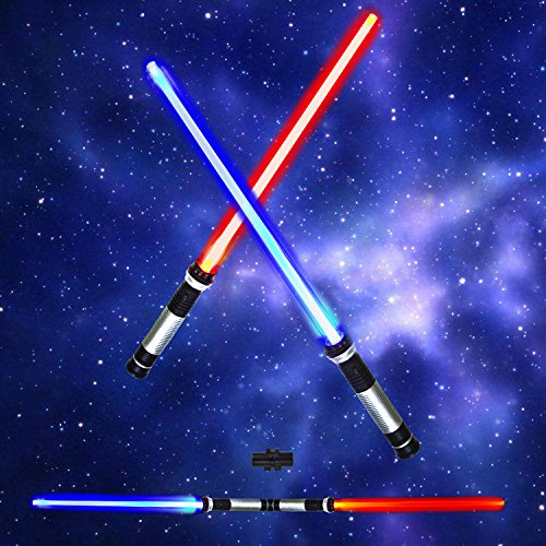Light Up Saber 2-in-1 LED (6 Colors) FX Dual Swords Set with Sound (Motion Sensitive) for Galaxy War Fighters and Warriors, Halloween Party, Christmas Gift Stocking Idea, Xmas Presents