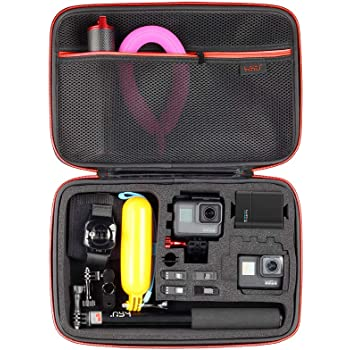 Large Carrying Case for GoPro Hero 9, (2018), Hero 8, 7 Black,HERO6,5,4,+LCD, Black, Silver, 3+, 3, 2 and Accessories by HSU with Fully Customizable Interior Carry Handle and Carabiner Loop