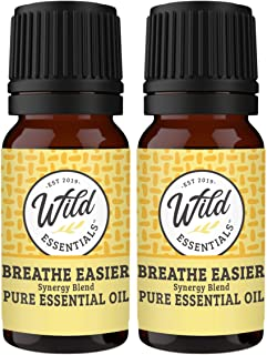 "Wild Essentials""Breathe Easier"" 100% Pure Essential Oil Synergy Blend 2 Pack - 10ml, Cool and clearing for Congestion, Sin..."