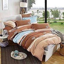 لينشو طقم كيس لحاف مفرش سرير 6 قطع مقاس مزدوج