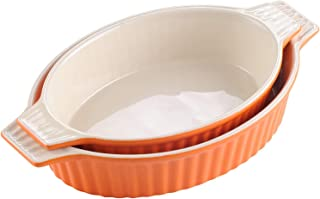 "MALACASA Ceramic Bakeware Set,Oval Baking Dish Set of 2 (12.75""/14.5""), Baking Pans for Cooking with Handles for Lasagne/P..."
