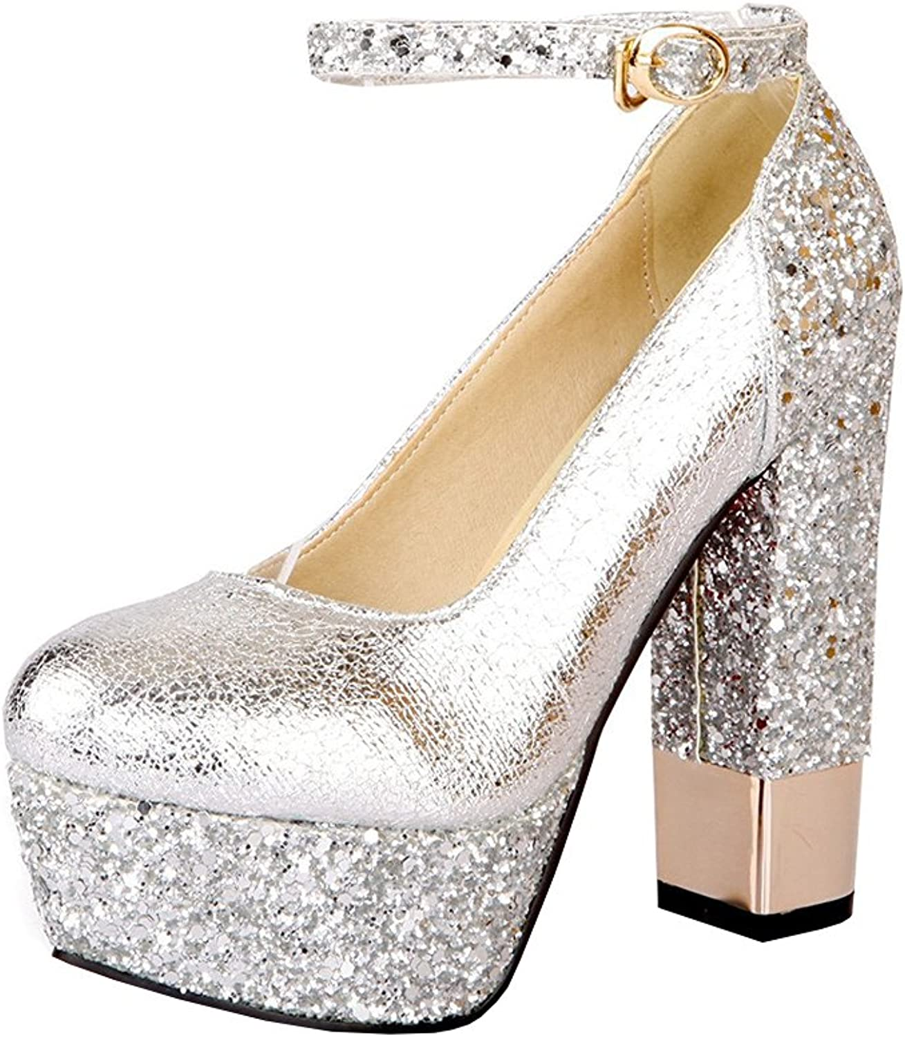 Agodor Womens Platform High Block Heel Ankle Strap Pumps Glitter Party Evening shoes
