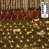 LED Lichternetz 3x2m 200 LEDs Ollny Lichterkette mit Fernbedienung & Timer 8 Modi für Weihnachten Partydekoration Geburstag Hochzeit Wohnzimmer...