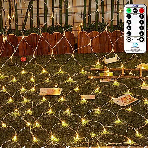 LED Lichternetz 3x2m 200 LEDs Ollny Lichterkette mit Fernbedienung & Timer 8 Modi für Weihnachten Partydekoration Geburstag Hochzeit Wohnzimmer Kinderzimmer, Anschließbar-bis zu 3 Sätze