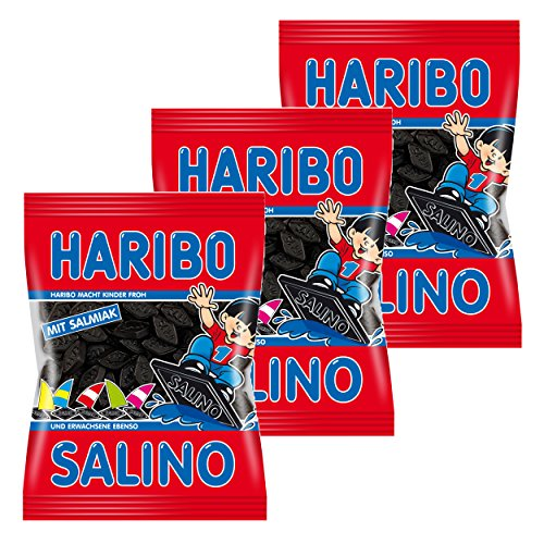 HARIBO Salino, Confezione da 3 Pezzi, Liquirizia, Dolce, Carnevale, in Sacchetto, 200 g