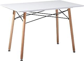 EGGREE Table Salle à Manger Rectangulaire Scandinave Design Table de Cuisine,Pieds en Bois et Armature en Métal,110x70x73c...