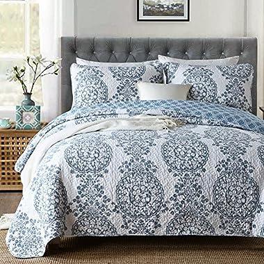 NEWLAKE Cotton Patchwork Bedspread Quilt Sets, Royal Elegant Flower Pattern, Queen Size