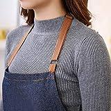 Aivtalk Kochbegeisterte Frauen Schürze Baumwolle Denim Kochschürze Küchenschürze Grillschürze Latzschürze Ärmellose Damen Schürze mit Taschen 71 * 65cm Denim Blau - 4