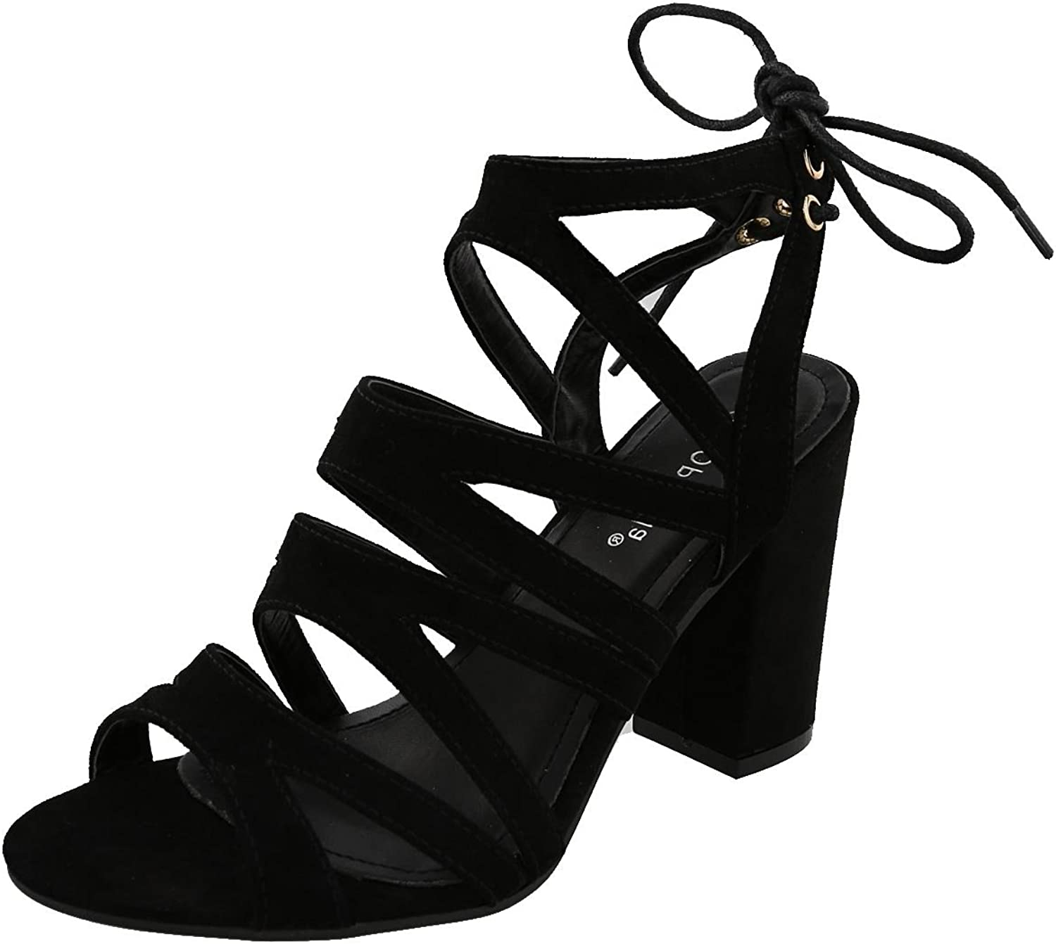 Top Moda Hailey-1 Women's Cutout Tie Back Stacked Chunky Platform Heel Sandal