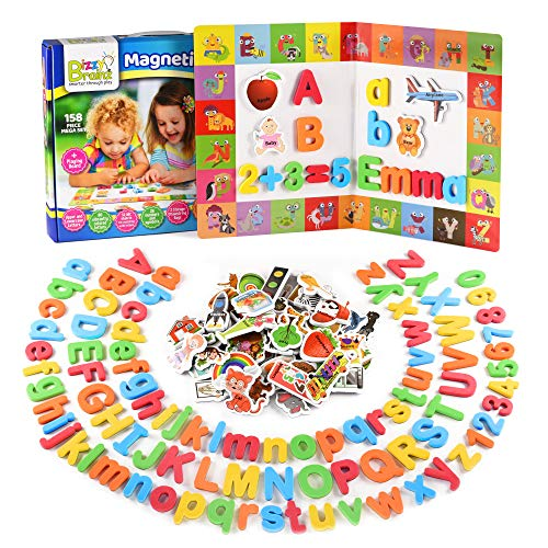 BizzyBrainz Magnetic Letters and Numbers + Matching A-Z Objects/ABC Magnets, Numbers and Board + E-Book with 35 Learning & Spelling Games Included | Alphabet Magnets and Numbers for Toddlers