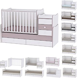 Lit bébé évolutif/ combiné Maxi Plus blanc/cappucino Lorelli (Le lit se transforme en lit d'adolescent, bureau, armoire mu...
