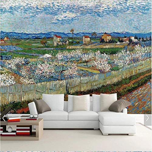 Fotobehang Van Gogh Olieverfschilderij peer Bloem 3D Muur Muurschildering Waterdicht Canvas Muurschildering 150 x 105 cm.