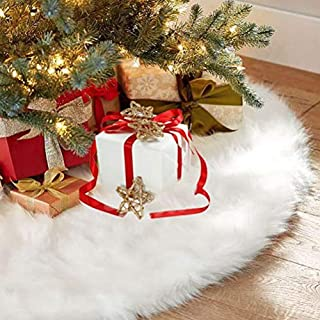 Abofire Christmas Tree Skirts White Plush Luxury Faux Fur Tree XmasTree Skirt for Christmas Decoration New Year Party Holiday Decorations Pet Favors (36 inch Dia)