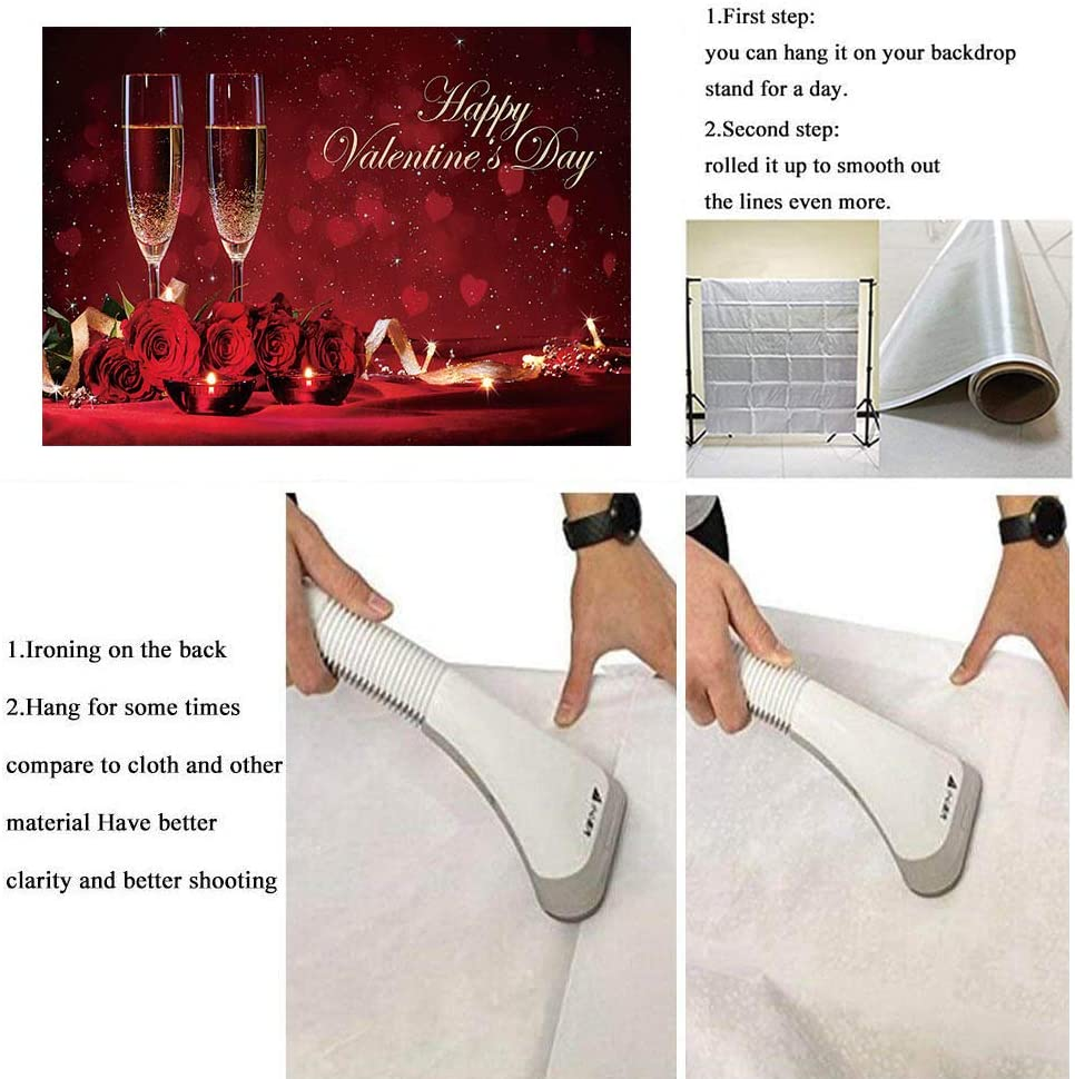 BINQOO 7x5ft Happy Valentines Day Champagne Bottles Backdrops Red Rose Valentine Eve Celebration Background for Photography Banner