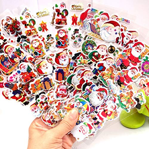 6Pcs Merry Christmas 3D Bubble Sticker Cartoon Santa Claus Bell Puffy Stickers New Year Xmas Sticky Decor For Kid