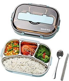 (フッカツ) お弁当箱 ランチボック ステンレス 大容量 1000ml 漏れ防止 分格 会社 学校 子ども用 ピクニック 食器付き 薄型 かわいい (ブルー,F)