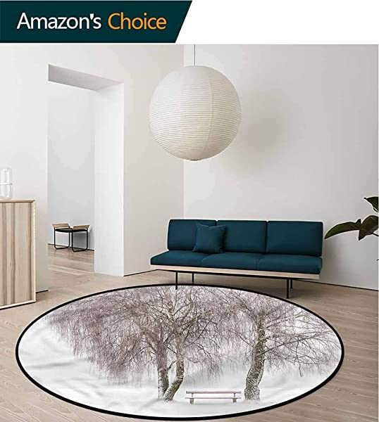 Winter Round Area Rug Snowy Bench In The Park Carpet Door Pad For Bedroom Living Room Balcony Kitchen Mat Round 31