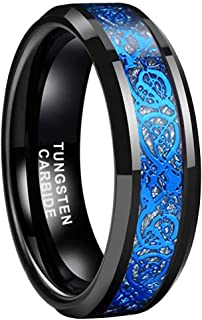BestTungsten 6mm 8mm Black Tungsten Carbide Rings for Men Women Wedding Bands Celtic Dragon Purple Green Blue Red Carbon F...