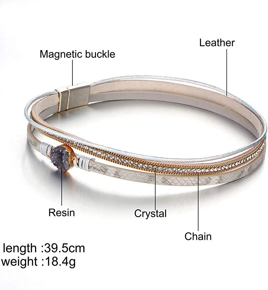 Multi-Layer Wrap Leather Bracelet Handmade Braided - with Magnetic Clasp Cuff Bangle Bracelet Jewelry for Women, Girl Gift