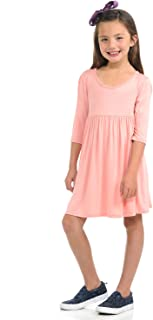 Honey Vanilla Girls' Three-Quarter Sleeve Empire Waist Tunic with Easy Removable Label