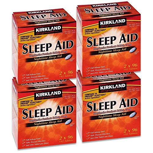 Kirkland Signature Sleep Aid Doxylamine Succinate 25 Mg, 192-Count, Pack of 4