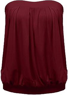 d3c17074bb4d ZANZEA Women's Sexy Casual Summer Slim Strapless Pleated Ruched Beach Vest  Shirt Tube Tops