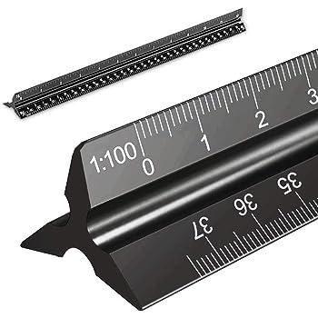 1:75 1:25 1:50 1:125 R/ègle m/étrique 1:20 1:100 30 cm et 15 cm - Ensemble de r/ègles noires R/ègle d/'architecte en m/étal R/ègle triangulaire en aluminium et acier