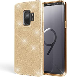 NALIA Glitter Case Compatible with Samsung Galaxy S9, Ultra-Thin Mobile Sparkle Silicone Back-Cover, Protective Slim Shiny Protector Skin, Shockproof Crystal Gel Bling Bumper, Color:Gold