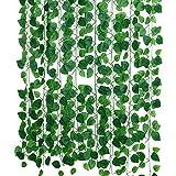 Hawesome 230cm Seda Verde Colgantes Artificiales Guirnalda de Hojas de Hiedra Plantas Hojas de Vid 12 Uds para Bricolaje decoración de baño para el hogar jardín decoración Fiesta