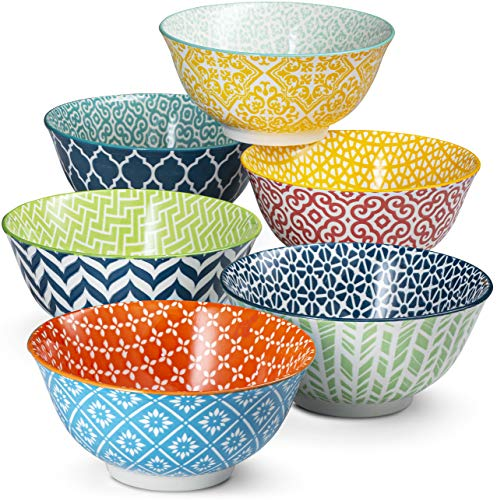 Cereal Bowls, by Kook, Ceramic Make, Multi Color Designs, Perfect for...