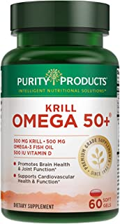 Krill Omega 50+ from Purity Products - (Krill 500 mg + Fish Oil 500 mg + Astaxanthin 500 mcg + Vitamin D 500 IU) - The Little Pill That Makes a Big Difference - 60 Mini Softgels